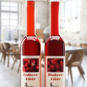 Erdbeere und Himbeere Likör in 350ml Langhals Flaschen im Set
