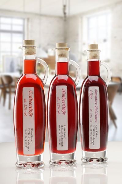 Erdbeer Himbeer Brombeer Essig und Öl Likör Set aus dem Schwarzwald