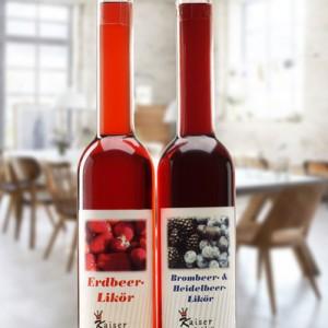 Erdbeer Brombeer-Heidelbeer Likoer 350ml Schwarzwälder Langhals Set