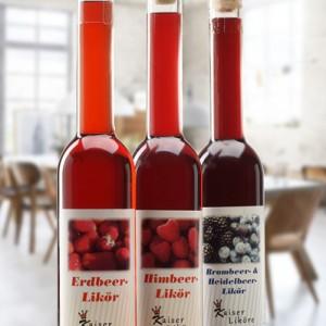 Erdbeer-Himbeer-Brombeer-Heidelbeer-Likoer-Langhals-350ml-Set
